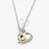 Ezüst bevonatos szív medálos nyaklánc sárga köves jwr-1299