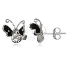 Ezüst fülbevaló, 925 - fekete pillangó cirkóniával fülbevaló