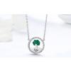 Ezüst nyaklánc kristályokkal, életfa medállal, zöld
