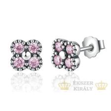 Ezüst, strasszos virág fülbevaló, rózsaszín fülbevaló