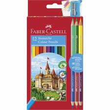 Faber-Castell Színes ceruza készlet, hatszögletű, FABER-CASTELL, 12 különböző szín + 3 db bicolor ceruza színes ceruza