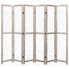 Fehér 6 paneles tömör fa paraván 210 x 165 cm