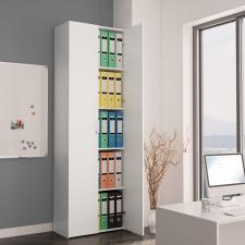 Fehér forgácslap irodai szekrény 60 x 32 x 190 cm irodabútor
