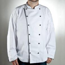 Fehér hosszú ujjú szakácskabát, fekete fél paszpóllal díszítve