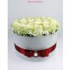Fehér nagy henger rózsa box fehér rózsákkal
