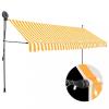 Fehér-narancssárga kézzel kihúzható LED-es napellenző 400 cm