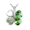 Fehérarannyal bevont zöld lóhere nyaklánc Swarovski kristályokkal + AJÁNDÉK DÍSZDOBOZ (0317.)