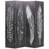 Fekete-fehér toll mintás paraván 160 x 170 cm