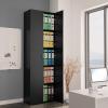 Fekete forgácslap irodai szekrény 60 x 32 x 190 cm