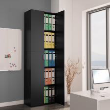 Fekete forgácslap irodai szekrény 60 x 32 x 190 cm irodabútor