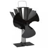 Fekete hővel meghajtott háromlapátos kandalló ventilátor