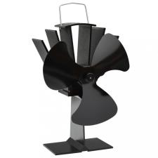 Fekete hővel meghajtott háromlapátos kandalló ventilátor hűtés, fűtés szerelvény