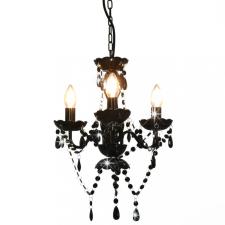 Fekete kerek csillár gyöngyökkel 3 x E14 kültéri világítás