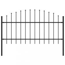 Fekete lándzsahegy tetejű acélkerítés (1-1,25) x 1,7 m kerti dekoráció