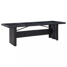 Fekete polyrattan és üveg kerti asztal 240 x 90 x 74 cm kerti bútor