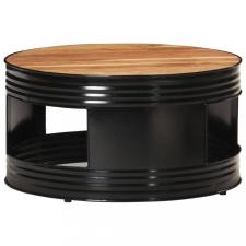 Fekete tömör akácfa dohányzóasztal 68 x 68 x 36 cm bútor