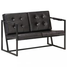 Fekete valódi kecskebőr kétszemélyes kanapé bútor