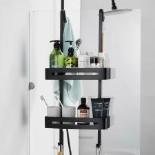 Felakasztható fürdőszobai zuhanypolc, fekete fürdőkellék