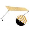 Feltekerhető sárga és fehér napellenző LED-del 400 x 150 cm