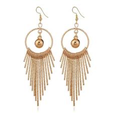 Feltűnő, divatos hosszú fülbevaló - arany színű fülbevaló