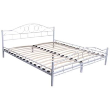 Fém ágykeret ajándék ágyráccsal 140x200cm, fehér ágy és ágykellék