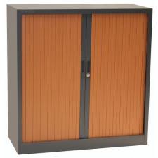 Fém iratszekrény, rolós, 2 polccal, 105 x 100 x 45,7 cm, antracit/cseresznye bútor