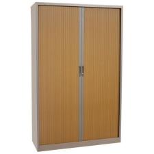 Fém iratszekrény, rolós, 4 polccal, 195 x 120 x 45 cm, szürke/bükk bútor