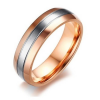 Férfi jegygyűrű, karikagyűrű ezüst csíkkal, rozsdamentes acél, arany színű, 9-es méret