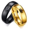 Férfi jegygyűrű, karikagyűrű, koronás, rozsdamentes acél, fekete, 12-es méret