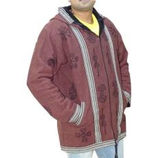 férfi kabát nepálból om mintás díszítéssel XL Barna