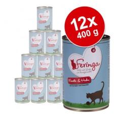 Feringa Menü Duo-változatok gazdaságos csomag 12 x 400 g - Kacsa & borjú, brokkoli & pitypang macskaeledel