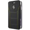 Ferrari iPhone 6/6S 488 Genuine Leather Silver Logo oldalra nyíló bőr tok, fekete