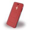 Ferrari iPhone 7 488 Genuine Leather Silver Logo oldalra nyíló bőr tok, piros