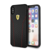 Ferrari iPhone X Scuderia Carbon PU leather hátlap, tok, fekete