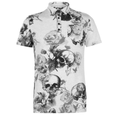 Firetrap férfi galléros póló - Firetrap Printed Polo Shirt Mens Ecru Skull AOP