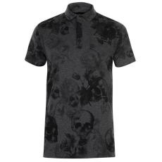 Firetrap férfi galléros póló - Firetrap Printed Polo Shirt Mens Grey Char Skull AOP