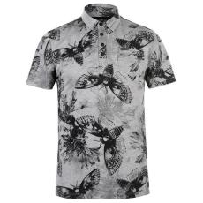 Firetrap férfi galléros póló - Firetrap Printed Polo Shirt Mens Grey Moth AOP