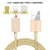 Floveme mágneses kábel micro USB / USB-C / lightning konektorral Apple készülékekre - arany