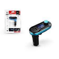 FM-05BT FM-transmitter - Bluetooth + memóriakártya olvasó + USB autós töltő + USB csatlakozó + 3,5 mm jack - 2,1A - fekete/kék mobiltelefon kellék