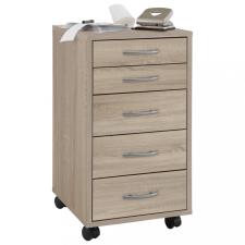 FMD tölgyszínű 5 fiókos mobil szekrény bútor