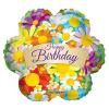 Fólia nagy lufi Happy Birthday virág alakú