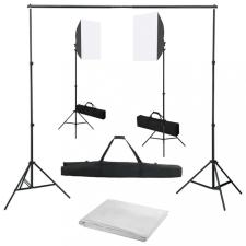 Fotóstúdió-felszerelés softbox lámpákkal és háttérrel világítás