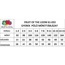 Fruit of the Loom gyerek rövid ujjú póló, fekete gyerek póló
