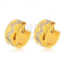 Fülbevaló 316L acélból arany színben, kettős cikk-cakk mintával fülbevaló