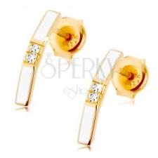 Fülbevaló 9K sárga aranyból - fehér megtört sáv, két átlátszó cirkónia középen fülbevaló
