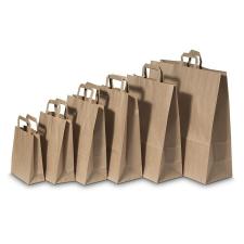 . Füles papírtasak, szalagfüles, barna, 28x17x27cm papírárú, csomagoló és tárolóeszköz