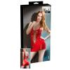 Fűzős lakk miniruha (piros) (S)