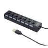 Gembird 7-port HUB USB 2.0 with switches; black