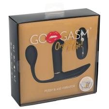 GoGasm Pussy & Ass - akkus, rádiós 3 ágú vibrátor (fekete) vibrátorok