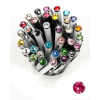 "Golyóstoll, Crystals from SWAROVSKI®, fehér,  14cm""Elegante"", eper színű kristállyal"